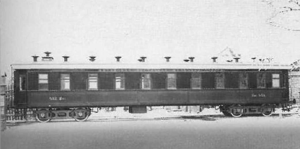 Пассажирский вагон Количество осей  4 Год постройки 1898 Изготовитель  Коломенский завод Дорога начальной приписки  Китайско-Восточная железная дорога