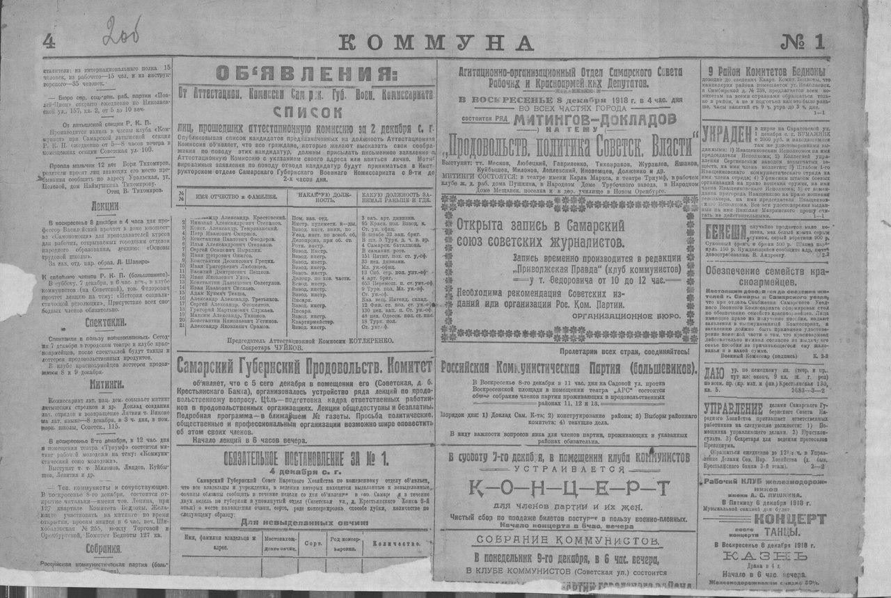 Газета Коммуна за 15 декабря 1918 г.