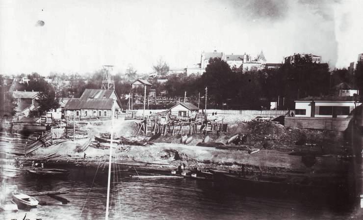 Набережная под Алексеевским спуском Красноармейский спуск к Волге Фото 1930 г.