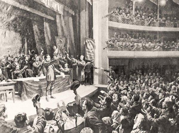 Картина художника В. Савинова «26 октября 1917 года. В.В. Куйбышев провозглашает советскую власть в Самаре»