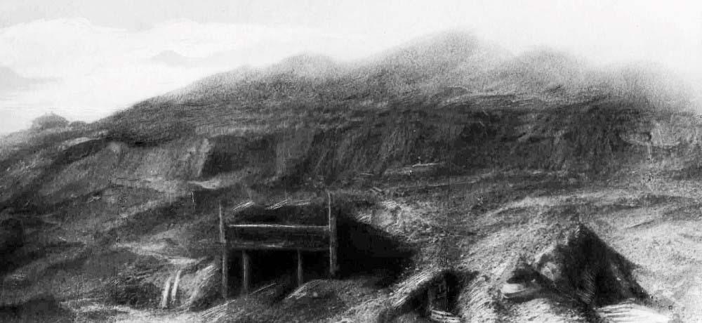 Кашпирский сланцевый рудник (КСР). Вид на сланцевые штольни с Волги. 30-е годы